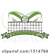 Clipart Of A Tennis Ball Over Abstract Rackets A Net And Blank Green Banner Royalty Free Vector Illustration