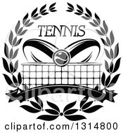 Clipart Of A Black And White Tennis Ball Over Abstract Rackets A Net Blank Banner And Text In A Wreath Royalty Free Vector Illustration