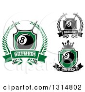 Clipart Of Billiards Pool Eight Ball Crown And Cue Sticks Designs With Text Royalty Free Vector Illustration