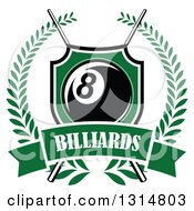 Clipart Of A Billiards Pool Eight Ball In A Green Shield Over Crossed Cue Sticks And A Text Banner Inside A Wreath Royalty Free Vector Illustration