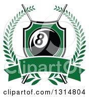 Billiards Pool Eight Ball In A Green Shield Over Crossed Cue Sticks And A Blank Green Banner Inside A Wreath