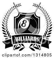 Clipart Of A Black And White Billiards Pool Eight Ball In A Shield Over Crossed Cue Sticks And A Text Banner Inside A Wreath Royalty Free Vector Illustration
