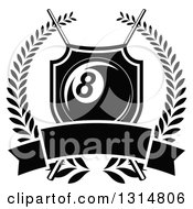 Clipart Of A Black And White Billiards Pool Eight Ball In A Shield Over Crossed Cue Sticks And A Blank Banner Inside A Wreath Royalty Free Vector Illustration