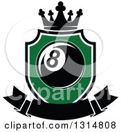 Clipart Of A Billiards Pool Eight Ball In A Green Shield With A Blank Banner And Crown Royalty Free Vector Illustration by Vector Tradition SM