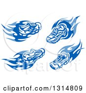 Clipart Of Blue Tribal Flaming Sports Shoes Royalty Free Vector Illustration
