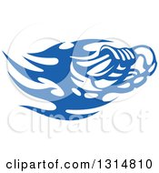 Clipart Of A Blue Tribal Flaming Sports Shoe Royalty Free Vector Illustration