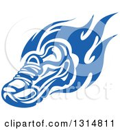 Clipart Of A Blue Tribal Flaming Sports Shoe 2 Royalty Free Vector Illustration