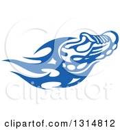 Clipart Of A Blue Tribal Flaming Sports Shoe 3 Royalty Free Vector Illustration
