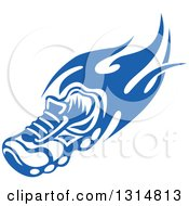 Clipart Of A Blue Tribal Flaming Sports Shoe 4 Royalty Free Vector Illustration