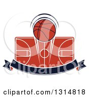 Clipart Of A Basketball Over A Court And Blank Navy Blue Ribbon Banner Royalty Free Vector Illustration