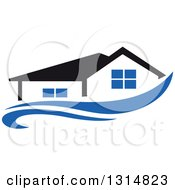 Clipart Of A House With A Black Roof Over A Blue Swoosh Royalty Free Vector Illustration