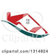 Clipart Of A House With A Red Roof Over A Teal Swoosh Royalty Free Vector Illustration