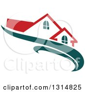 Clipart Of A House With A Red Roof Over Teal Swooshes Royalty Free Vector Illustration