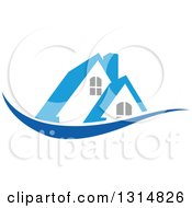Clipart Of A House With A Blue Roof Over A Swoosh Royalty Free Vector Illustration