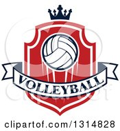 Volleyball On A Red And White Shield With A Crown And Text Banner