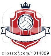 Clipart Of A Volleyball On A Red And White Shield With A Crown And Blank Ribbon Banner Royalty Free Vector Illustration