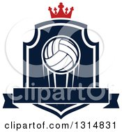Clipart Of A Volleyball On A Navy Blue And White Shield With A Crown And Blank Ribbon Banner Royalty Free Vector Illustration by Seamartini Graphics
