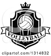 Clipart Of A Black And White Volleyball On A Shield With A Crown And Text Banner Royalty Free Vector Illustration