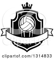 Clipart Of A Black And White Volleyball On A Shield With A Crown And Blank Ribbon Banner Royalty Free Vector Illustration by Seamartini Graphics