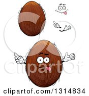 Clipart Of A Cartoon Face Hands And Coconuts Royalty Free Vector Illustration