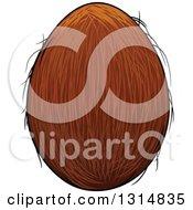 Clipart Of A Cartoon Coconut Royalty Free Vector Illustration