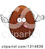 Clipart Of A Cartoon Goofy Coconut Character Royalty Free Vector Illustration