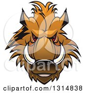 Clipart Of A Brown Vicious Razorback Boar Mascot Head 2 Royalty Free Vector Illustration
