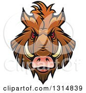 Clipart Of A Brown Vicious Razorback Boar Mascot Head 4 Royalty Free Vector Illustration