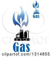 Clipart Of Black And Blue Natural Gas And Flame Designs With Text 6 Royalty Free Vector Illustration