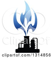 Clipart Of A Black And Blue Natural Gas And Flame Design 7 Royalty Free Vector Illustration