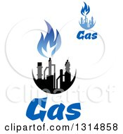 Clipart Of Black And Blue Natural Gas And Flame Designs With Text 7 Royalty Free Vector Illustration
