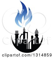 Clipart Of A Black And Blue Natural Gas And Flame Design 6 Royalty Free Vector Illustration