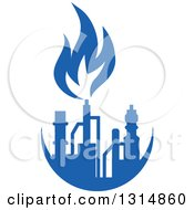 Clipart Of A Blue Natural Gas And Flame Design 6 Royalty Free Vector Illustration