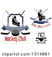 Clipart Of Ice Skates Crossed Hockey Sticks Banners Pucks And Shields With Text Royalty Free Vector Illustration