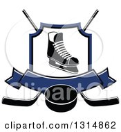 Clipart Of A Black And White Ice Skate In A Shield Over Crossed Hockey Sticks A Blue Banner And Puck Royalty Free Vector Illustration