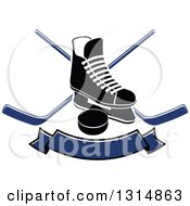 Clipart Of A Black And White Ice Skate Over Crossed Hockey Sticks A Blue Banner And Puck Royalty Free Vector Illustration