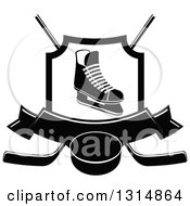 Clipart Of A Black And White Ice Skate In A Shield Over Crossed Hockey Sticks A Banner And Puck Royalty Free Vector Illustration