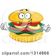 Clipart Of A Cartoon Hamburger Character Giving A Thumb Up Royalty Free Vector Illustration