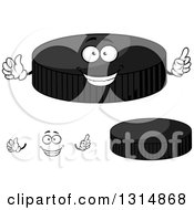 Clipart Of A Cartoon Face Hands And Grayscale Hockey Pucks Royalty Free Vector Illustration