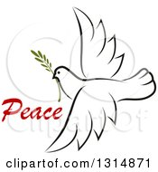 Clipart Of A Sketched Flying Peace Dove With A Branch And Text Royalty Free Vector Illustration