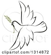 Clipart Of A Sketched Flying Peace Dove With A Branch Royalty Free Vector Illustration