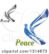 Clipart Of Blue And Black Flying Peace Doves With Text Royalty Free Vector Illustration