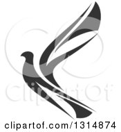 Clipart Of A Black And White Flying Peace Dove Royalty Free Vector Illustration