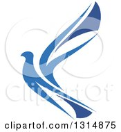 Clipart Of A Blue Flying Peace Dove Royalty Free Vector Illustration