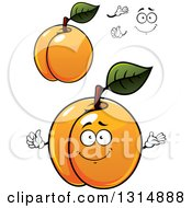 Clipart Of A Cartoon Face Hands And Shiny Apricots Royalty Free Vector Illustration