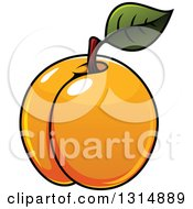 Clipart Of A Cartoon Shiny Apricot Royalty Free Vector Illustration
