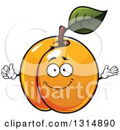 Clipart Of A Cartoon Shiny Apricot Character Giving A Thumb Up And Presenting Royalty Free Vector Illustration