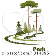 Clipart Of A Park With Tall And Evergreen Trees And Text Royalty Free Vector Illustration by Vector Tradition SM