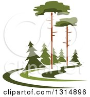 Clipart Of A Park With Tall And Evergreen Trees Royalty Free Vector Illustration