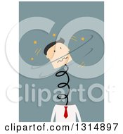 Clipart Of A Flat Design White Businessman Stressed Out His Head Springing Off Of His Body On Blue Royalty Free Vector Illustration